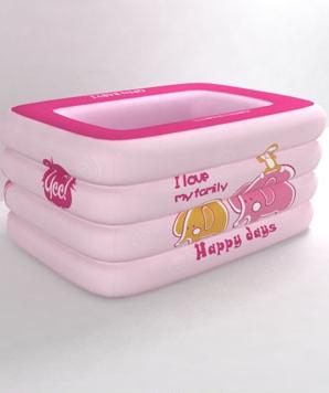 欧培温馨小象方形泳池粉色