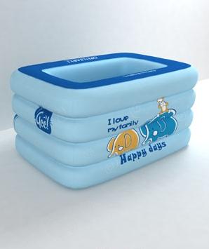 欧培温馨小象方形泳池蓝色